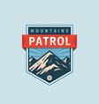 mountains patrol - concept badge climbing logo vector image vector image
