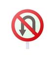 no u turn road sign icon cartoon style vector image