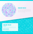 online music concept in circle vector image