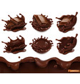 piece chocolate and chocolate splash seamless vector image