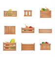 realistic detailed 3d fruits vegetables wooden box vector image