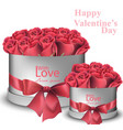 red roses bouquet in gift boxes realistic vector image vector image