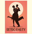 retro party poster silhouettes of couple wearing vector image vector image