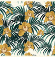 seamless pattern yellow orchid flowe vector image vector image