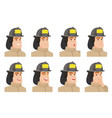set of firefighter characters vector image vector image