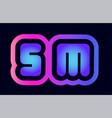 sm s m pink blue gradient alphabet letter logo vector image vector image