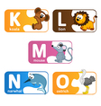 stickers alphabet animals from K to O vector image vector image