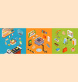 supermarket furniture isometric set vector image vector image