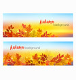 two abstract autumn banners with colorful leaves vector image vector image