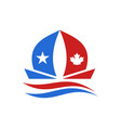 usa and canada boat logo vector image vector image