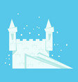 white snow castle with staircase and towers vector image
