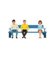 Woman and two men sitting on blue bench waiting