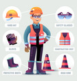 worker with safety equipment man wearing helmet vector image