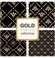 Golden pattern on dark damask background vector image