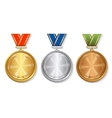 Set of gold silver and bronze Award medals on vector image