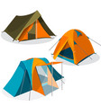 awning tourist camping tents icons collection vector image