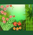 background with tropical leaves and flowers vector image