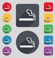 cigarette smoke icon sign A set of 12 colored vector image