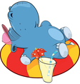 A little hippo and an inflatable swimming ring vector image vector image