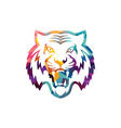 Abstract colorful triangle geometrical tiger logo vector image vector image