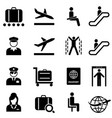 airport and airplane travel web icon set vector image vector image