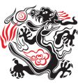 black and red dragon vector image