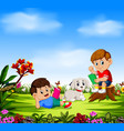 boys reading book and play with their dog vector image
