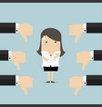businesswoman and many hands with thumbs down vector image vector image