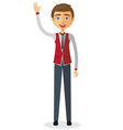 cheerful young businessman waving her hand vector image vector image