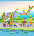 children playing and walking in street vector image vector image