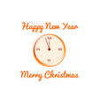 Christmas card with the clock in orange tones vector image