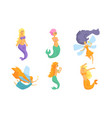 collection cute fairy tale mermaids and vector image vector image