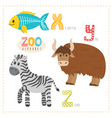 Cute cartoon animals Zoo alphabet with funny vector image vector image