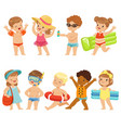 cute kids toons are having fun on the beach vector image vector image