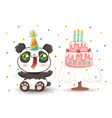 cute panda in birthday hat vector image