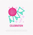 disco ball and garland party decoration line icon vector image