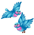funny cartoon blue bird isolated on white vector image vector image