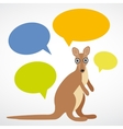 Funny kangaroo with colorful speech bubbles on vector image vector image