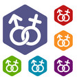 gender symbol icons set hexagon vector image vector image