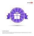 gift box icon - purple ribbon banner vector image