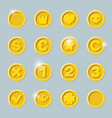 gold coins set vector image vector image