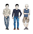 happy men standing wearing fashionable casual vector image