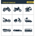Icons set premium quality of types of vehicles vector image vector image