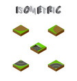 isometric road set of subway bitumen turning and vector image vector image