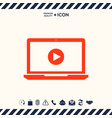 laptop with play button icon vector image vector image