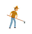 male farmer working with hoe farm worker with vector image vector image