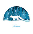 merry christmas card white fox in the snow vector image