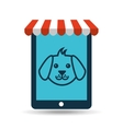 online pet shop and face doggy vector image vector image