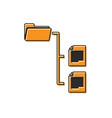 orange folder tree icon isolated on white vector image vector image