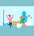 people having fun outdoors girl with ball of snow vector image